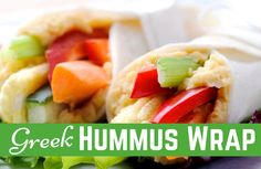 Greek Hummus Wrap Recipe. Less than 300 calories #favvegetarianmeals #meatlessmeal