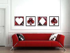 Red black pocker art red black playing cards by FluidDiamondArt