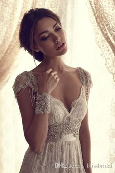 Backless Wedding Dresses Simple Beach V Neck Cap Sleeves Open Back Long Length Beading Crystal Lace Bow Tulle Wedding Dress Custom Made Casual Wedding Dress Classic Wedding Dresses From Blissbridal, $131.54| Dhgate.Com