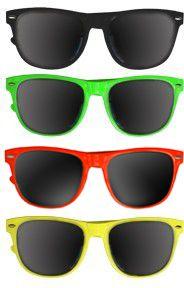 Private Island Party  - DOZEN Wayfarer 80's Style Sunglasses Mixed Colors 1050, $24.00 (http://privateislandparty.com/products/dozen-wayfarer-80s-style-sunglasses-mixed-colors-1050/)