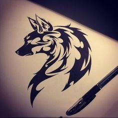 Wolf tribal by *dirtfinger on deviantART Wolf Tattoo Back, Tribal Wolf Tattoo, Small Wolf Tattoo, Wolf Tattoo Sleeve, Wolf Tattoo Design, Wolf Tattoos, Lion Tattoo, Tribal Tattoos, Tattoo Designs