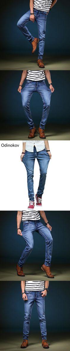 Odinokov Brand High Street Jeans 2017 Fashion  Men Slim Jeans Skinny High Stretch  Jeans For Men Designer  Men Biker Jeans