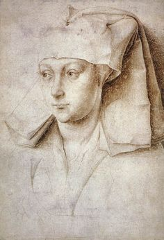 Rogier van der WEYDEN. Portrait of a Young Woman  c. 1440  Silverpoint on prepared paper, 166 x 116 mm  British Museum, London