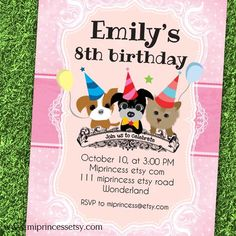 Puppy Dog Birthday Invitation kids any age 1st 2nd by miprincess