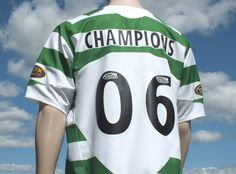 rare celtic fc home player shirt champions signed season 2005-2006 three in a row