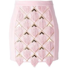 Balmain tassel panel skirt found on Polyvore featuring polyvore, women's fashion, clothing, skirts, bottoms, balmain, short pink skirt, balmain skirt, tassel skirt and short skirts