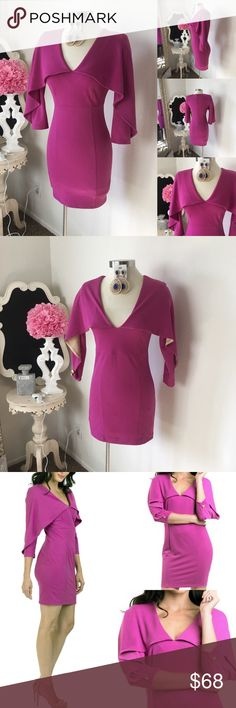 🌺 MKC - Marisa Kenson Collection Cape Style Dress 🌺 MKC - Marisa Kenson Collection  Beautiful Cape Style Dress -Mini Skirt Style -  Quarter Sleeve w/ V- Neckline Design - Back Zipper - Gold Buttons - Dress is Lined   - In Magenta Pink  $88 New w/Tag  - Reg: $142  Fabric : 96% Polyester - 4% Spande 🌺 Accessories Not Included But Are also for Sale  Please Check out my Other Items in my GIRLe B Posh Shoppe'  Like us on FB   www.facebook.com/girleboutique Thanks For Looking & Always Let your…