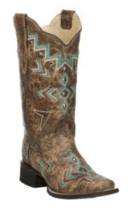 Corral Women's Bronze with Turquoise Aztec Embroidery Square Toe Western Boot | Cavender's