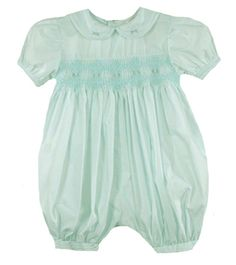 NEW Petit Ami Pale Green Smocked Bubble with Fagoting and Embroidery $50.00