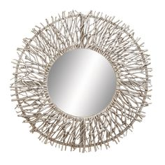 """Wooden Circular Wall Mirror with Silver Colored Twigs 31"""" Diameter"""