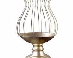 Vaso Armação Para Pedrarias 37cm Dourado