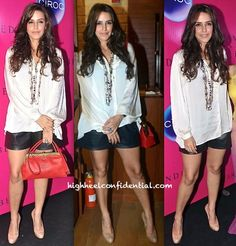 neha dhupia in zara and honor nyc at mandira bedi's store launch and at salwater launch
