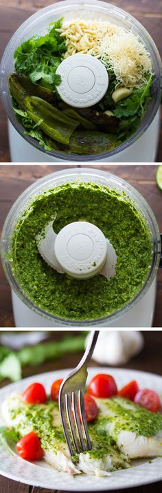 Cilantro-Chile Pesto Fish by sweetpeasandsaffron #Fish #Cilantro #Pesto #Fresh #Light #Healthy #Easy