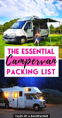 I've put together this list of campervan essentials with all the campervan equipment you might need, including a printable campervan packing list! | campervan checklist | RV Essentials | RV packing List | Motorhome Checklist | What to Pack for a Road Trip | RV Road Trip packing checklist Road Trip Packing List, Packing Checklist, Road Trip Essentials, Packing Lists, Best Camping Gear, Kayak Camping, Camping And Hiking, Rv Hacks, Camping Hacks