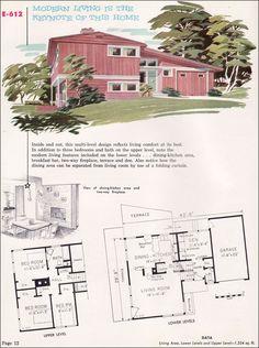1955 split level mid century modern floor plan repinned for Split level home designs melbourne