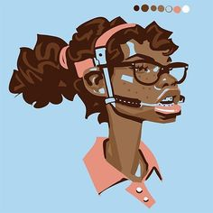"I much prefer this sketch of the ""Underbite"" design on Threadless. You can score my designs here: http://ift.tt/1WqoXRz Clickable link in bio. #braces #headgear #nerd #nerdy #girl #portrait #glasses by johnzylstra"