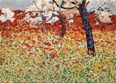 """""""Meadow with Flowers and Trees"""" (1910) by Egon Schiele"""
