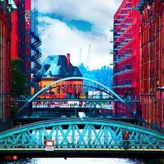 Hamburg Speicherstadt Pop Art 26 Leinwanddruck Bild Leinwand Keilrahmen Wandbild
