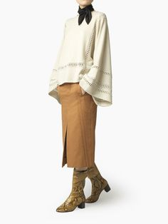 Discover Guipure Sweater and shop online on CHLOE Official Website… Beige, Pull, Merino Wool, Knitwear, Chloe, Ruffle Blouse, Boutique, Knitting, 2017 Ideas