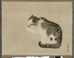 Painting, hanging-scroll. Cat licking its paw. Ink and colour on paper. Katsukawa Shunsho, c. 1789-1792.