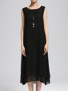 Shop Midi Dresses - Black A-line Sleeveless Solid Midi Dress online. Discover unique designers fashion at StyleWe.com.