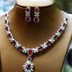 @petchchompoojewelry. Myanmar rubies and diamonds necklace.