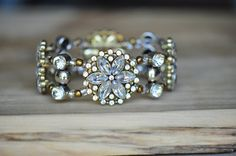 Jewel and Brass Color Beaded Bridal Bracelet by LaceCharming
