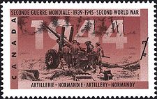 Canadian Postal Archives Database    Postal Administration: Canada     Title: Artillery - Normandy     Denomination: 43¢     Date of Issue: 7 November 1994