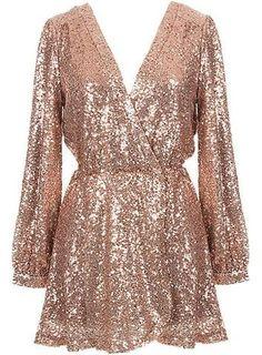Shine Sequin Dress# Rose Gold