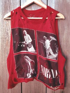 Custom Hand Distressed Rare Vintage Grunge Punk Alternative Band Nirvana Red Cropped Tank Tee Tshirt on Etsy, $55.00