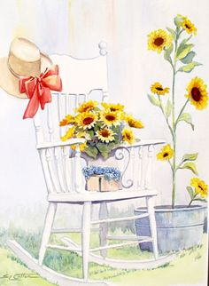 wfWhite Rocker with Sunflowers.jpg (342×468) by Sue Lynn Cotton