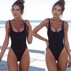 a3ec615c654 Women One Piece Swimsuit Solid Female Sexy Black Backless Brazilian Swimwear  Women Fused Monokini Beachwear XL