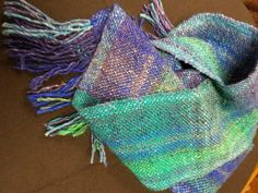 Hand Woven Scarf  Bright blues greens by GinaMitchellDesigns, $62.95