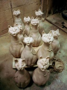 Clay cats   ----   At least I'm not the only crazy cat person out there!