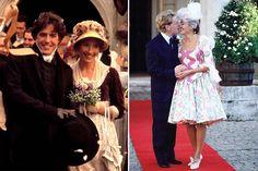 """À esquerda: Emma Thompson com Hugh Grant em """"Sense and Sensibility"""" (1995). À direita: com Kenneth Branagh, 1989."""