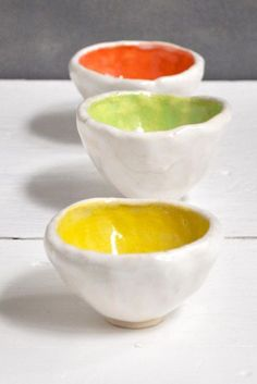 Lee Wolfe Pottery — neon pinch pot bowls set of 3