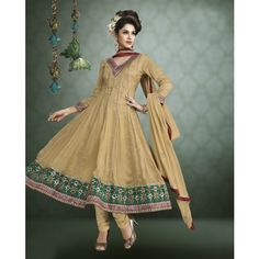 Brown Thread Work Art Silk Anarkali Salwar Kameez