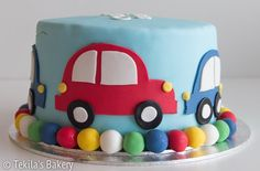 Colorful fondant car cake