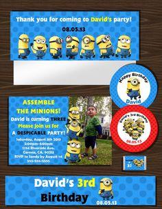 Despicable Me MINIONS Party Bundle/Party Printables/DIY Printable Party Bundle with invitation & party favors