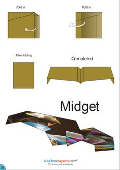 Paper Airplane Instructions - Midget - Papier etc. Paper Airplane Party, Paper Airplanes Instructions, Origami Paper Plane, Stem Projects For Kids, Cool Paper Crafts, Origami Tutorial, Paper Models, Paper Toys, How To Make Paper