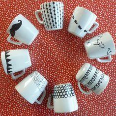 DIY mugs porcelain pen Sharpie Designs, Mug Designs, Sharpie Crafts, Sharpie Art, Sharpies, Cadeau Parents, Porcelain Pens, Diy Tableware, Mug Art