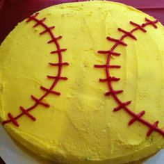 Softball cake. I did this once using white ... When Noah played baseball. Easy and cute.