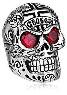 King Baby Men's Large Skull Ring with Chosen Cross Detail and Garnet Eyes | Skull Worship