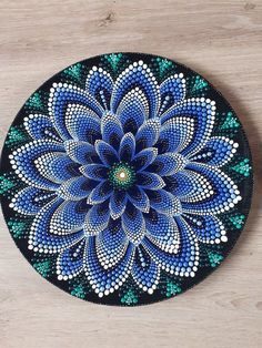 Beautiful blue waterlily come in mandala dots on plate. Perfect for door decor,wall or corner table and never bad idea for present. Made by unique methode of dotting making this piece so alive . In person the color so vibrant bringing the good energy wh Mandala Art, Mandala Design, Mandala Bleu, Mandala Canvas, Mandala Drawing, Mandala Painting, Mandala Pattern, Dot Art Painting, Painting Patterns