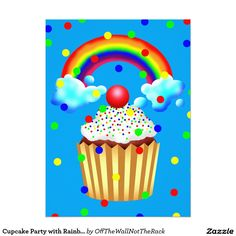 Cupcake Party with Rainbow & Sprinkles Card