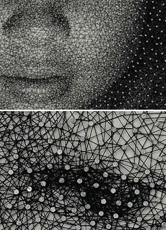 A close-up to show detail of portraits by Kumi Yamashita made with an unbroken thread wound around nails.