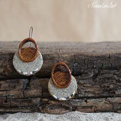 Earrings. Hemp twine,sand and seashells' chips. | Handamade by FossalonArt