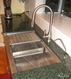 Upgraded kitchen sink to a hammered stainless workstation farm sink and Waterstone faucet for a much more enjoyable kitchen experience! Available in all sizes. Made in the USA by Rachiele Custom Sinks. See more examples at www.rachiele.com. #stainlesssteel #marinegradestainless #hammeredsink Kitchen Upgrades, Kitchen Ideas, Kitchen Designs Photos, Concrete Sink, Farm Sink, Stainless Steel Sinks, Kitchen Faucets, House Ideas, Design Ideas