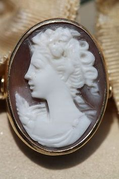 Antique 14k Yellow Gold Hand Carved Left Facing Shell Cameo Ring Size 5 75   eBay
