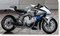Moto : Illustration Description Moto BMW concept 6 con tonos azules, blancos y plata.